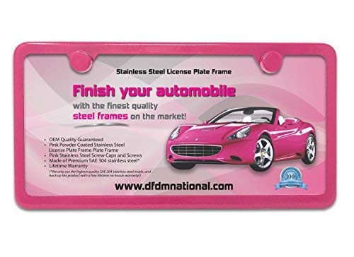 - DFDM National License Plate Frame Kit Pink Powder Coating, Includes Stainless Steel Screws, Fasteners and Caps, 2 Hole Bracket – Standard Non-Anti-Theft Model
