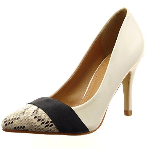 Sopily - Scarpe da Moda scarpe decollete stiletto alla caviglia donna lucide pelle di serpente Tacco Stiletto tacco alto 9.5 CM - Beige