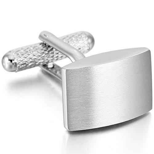 Rhodium Plated Rectangular Cufflinks (INBLUE Men's 2 PCS Rhodium Plated Cufflinks Silver Tone Rectangular Shirt Wedding Business 1 Pair Set)