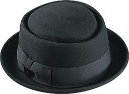 Henschel Men\'s 100% Wool Felt Porkpie Hat and Grosgrain Ribbon Band and Bow, Black, Large