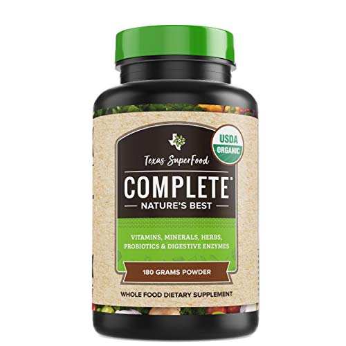 Texas SuperFood - Complete Organic Superfood Powder, Superfood Reds and Greens Powder, Vitamins Minerals Herbs and Probiotics, Non-GMO, Gluten Free, Vegan, 180 Grams Superfood Powder