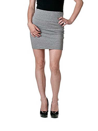 Stretch Simple Cotton Mini Skirt Minijoup Basic Plain Skirt, Heather Grey, Small (Star Big Mini Skirt)