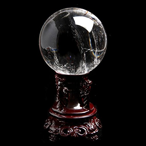 - MIKINI appr 60MM Natural Stone Crystal Ball Sphere with Resin Stand, Amethyst Rose Quartz Obsidian Lapis (Natural Clear Quartz 60mm)