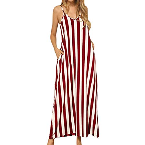 LIKESIDE Women's Long Dress Loose T Shirt and Split Maxi Swing Blouse Dresses Red