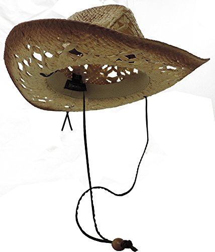 Tea Stained Western Cowboy Hat With Orange Medallion Brown Faux Leather Band (Raffia Western Straw)