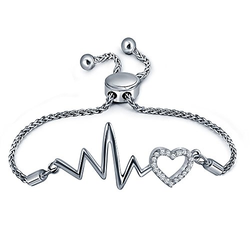 La Joya 1/8ct Round White Diamond Sterling Silver Heart Beat Adjustable Strand Love Heart Beat Bolo Bracelet for Women Teens