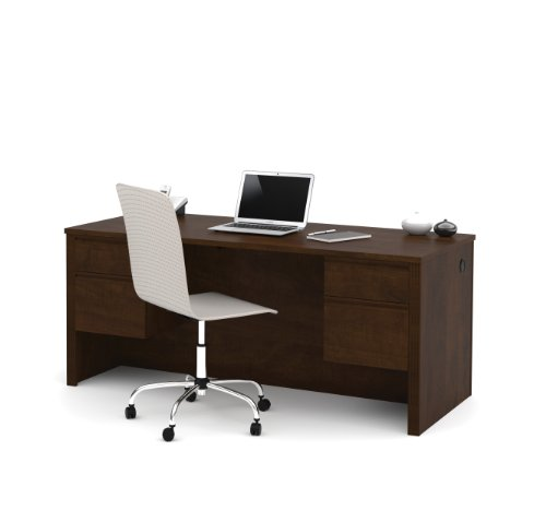 BESTAR Prestige + Executive Desk with Dual Half Peds, Chocolate (Double Ped Table)