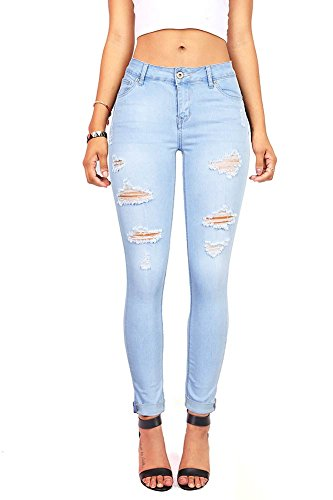 Wax Denim Women's Juniors Distressed Slim Fit Stretchy Skinny Jeans (5, Light - Denim Light