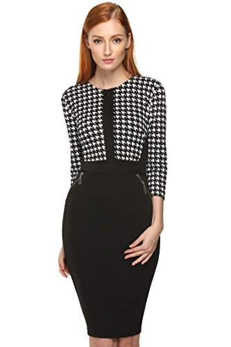 ACEVOG-Women-Vintage-Colorblock-Career-Bodycon-Stretch-Tunic-Pencil-Sheath-Dress