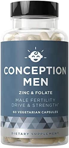 Conception Men Fertility Vitamins - Male Optimal Count, Sperm Motility Strength, Healthy Volume Production - Zinc, Folate, Ashwagandha Pills - 60 Vegetarian Soft Capsules