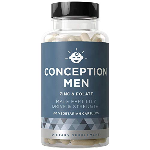 Conception Men Fertility Vitamins - Male Optimal Count, Sperm Motility Strength, Healthy Volume Production - Zinc, Folate, Ashwagandha Pills - 60 Vegetarian Soft Capsules (Folic Acid To Get Pregnant With Twins)