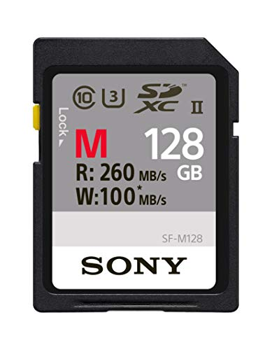 Sony Memory Card 128GB, UHS-II SD, CL10, U3, Max R260MB/s, W100MB/s - Series Card Sdhc