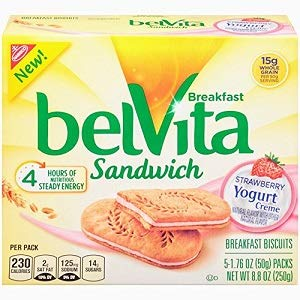 (Breakfast Sandwich Belvita Strawberry Yogurt Creme (2-Boxes) 5-1.76 Biscuits Each Box)