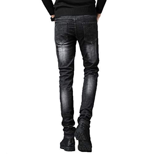 Pieds Trou Stretch Fashion Brodé Pour Pantalons Hommes Jeans Slim X4UAFx