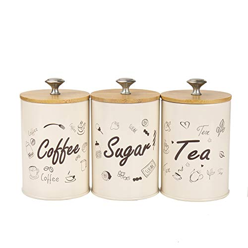 Hot Sale X022SB Set of 3 Metal Food Storage Tin Canister/Jar with Bamboo Lid (Cream B)