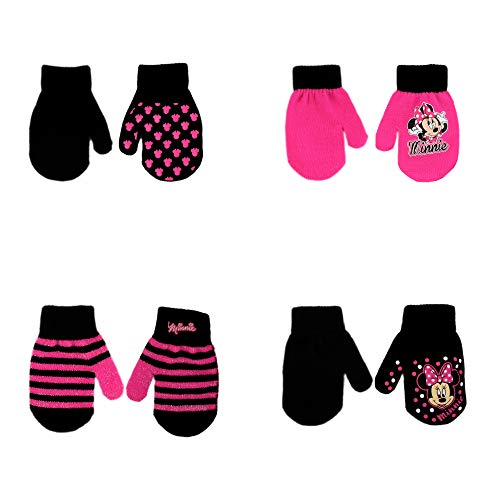 Disney Assorted Character Designs 4 Pair Gloves or Mittens Cold Weather Set, Little Girls, Age 2-7 (Minnie Mouse - 4 Pair Mittens Design Set) ()
