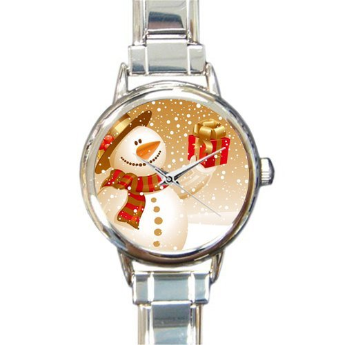 Personalized Watch Cute Snowman with a Gift Round Italian Charm stainless steel Watch