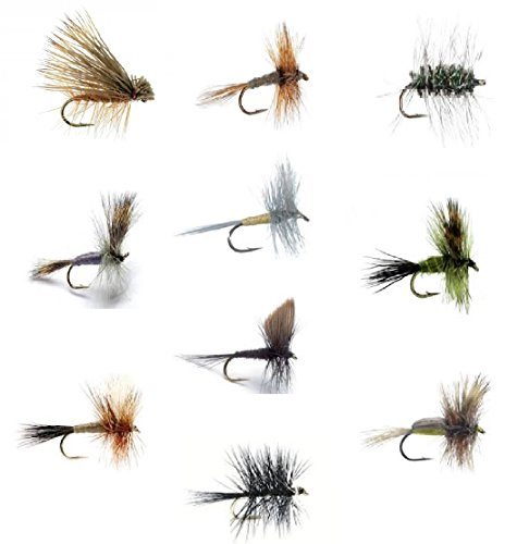 Caddis Dry Fly (Fly Fishing Flies Set of 30 Dry Flies for Trout and Freshwater Fish - 10 Patterns - Adams, Griffith Gnat, Caddis, Grey Wulff, Pale Evening Dun, Green Drake, Bivisible, Ausable Wulff, Black Gnat, Humpy)