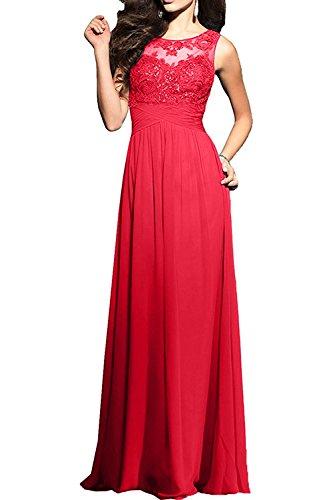 Rot Abendkleider Promkleider Damen Charmant Chiffon Rock Lila Bodenlang Festlichkleider Spitze A Abiballkleider Linie wpwY7qI