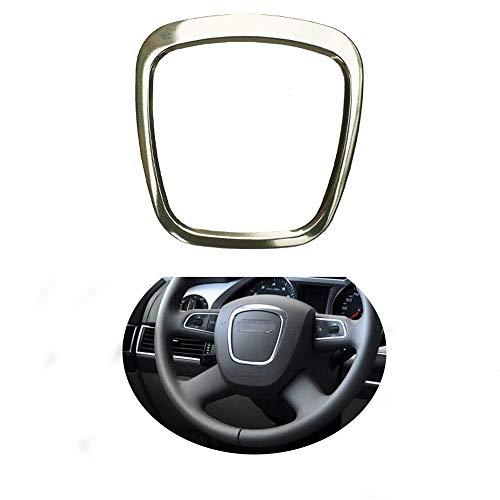 Trapezoid Car Steering Wheel Sticker Aluminum Body Emblem Trim Fit For Audi A3/A4L/A6L S4/Q3/Q5 (Silver) ()
