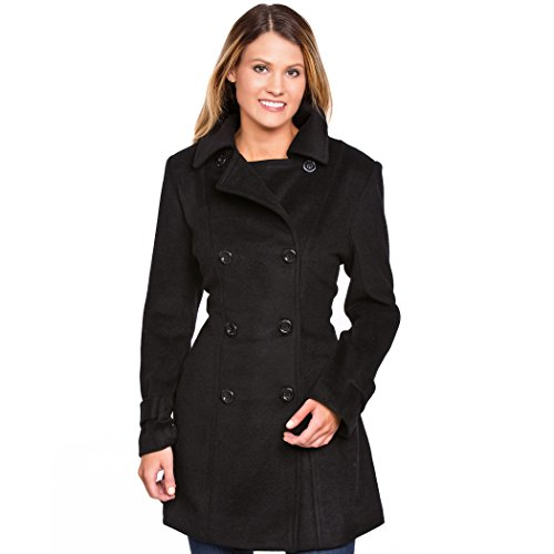 Urban Boundaries Women's Wool Blend Double Breasted Pea Coat (Black, Large) (Military Pea Coat Women)