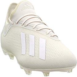 adidas Men's X 18.2 Firm Ground Soccer Shoe, Off White/Black, 10 M US