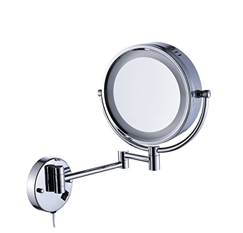 Cavoli Makeup Mirror with LED Lighted Wall Mounted 10x Magnification,Chrome Finish (8.5-inch,10x)