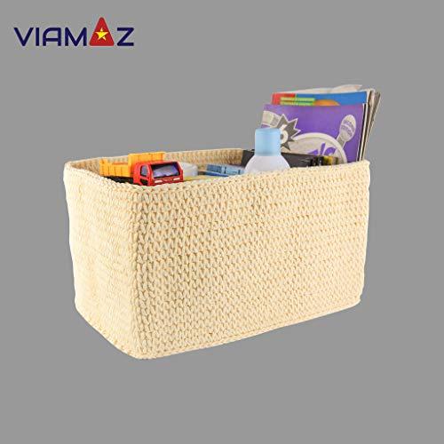 VIAMAZ Basket Storage - Multi-Purpose Storage Bin for Diapers, Toy, Office, Coffee Shop - Organizer Basket Rectangular, Office Box, Baby Storage Hand Knit by Vietnamese Artisan - Foldable, Washable from Viamaz