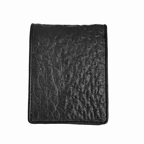 Genuine Ostrich Skin Leather Man Bifold Wallet - Black (Skin Ostrich Leather Genuine)