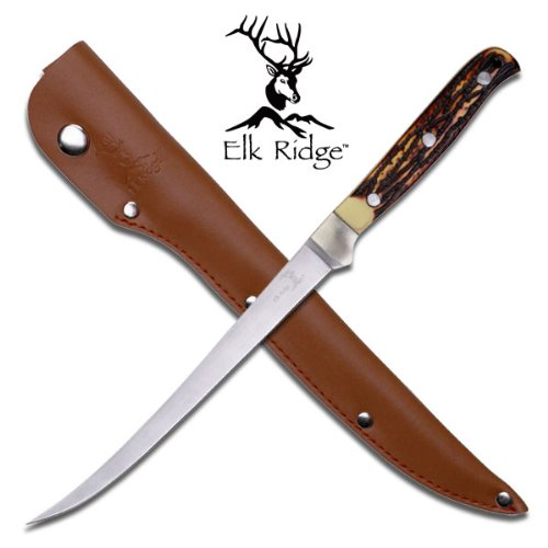 ER-146. Elk Ridge 12 1/4 Inch Filet Knife With Simulated Bone Handle Elk Ridge 12 1/4 Inch Overall in length Filet Knife. Features Simulated Bone Handle. Comes with the leather sheath. KNIFE fixed blade knife hunting sharp edge steel Review