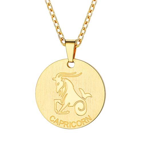 Capricorn Sign Zodiac - FaithHeart Customizable Astrology 12 Constellation Horoscope Necklace, 18K Gold Plated Capricorn Zodiac Star Sign Coin Pendant Necklace Birthday Gifts Lucky Charms Layered Necklace (Gold)