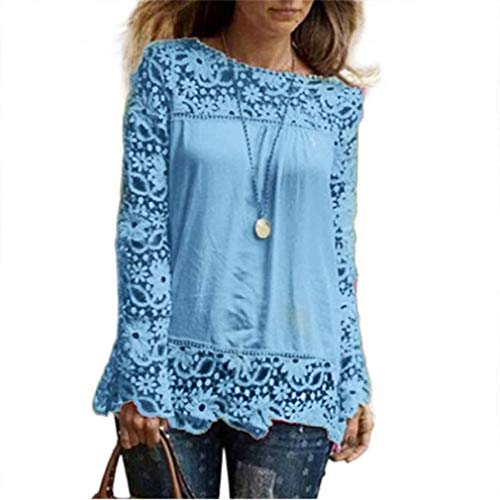 Women Plus Size Hollow Out Lace Splice Long Sleeve Shirt Casual Blouse Loose Top(sky blue,Small) by iQKA (Image #4)