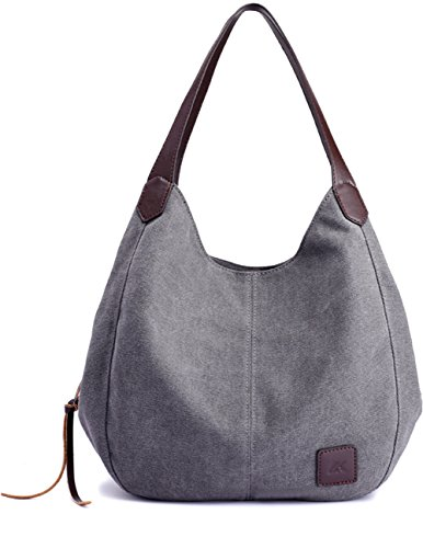 Luckysmile Canvas Hobo Bag Top Handle Tote Handbag Travel Shopping Bag for Women Leather Small Hobo Bag