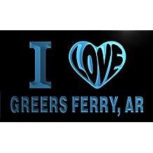 v50893-b I Love GREERS FERRY, AR ARKANSAS City Limit Neon Light Sign