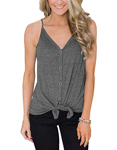 IVVIC Button Down V Neck Tank Tops for Women Casual Sleeveless Shirts Blouses