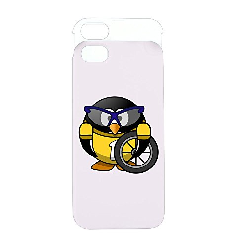 iPhone 5 or 5S Wallet Case Pink and White Little Round Penguin - Cyclist in Yellow Jersey