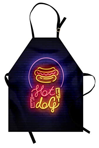 Ambesonne Snack Apron, Colorful Neon Sign Like Yummy Design on Bricks for Hot Dog Fast Food Stands Carts, Unisex Kitchen Bib Apron with Adjustable Neck for Cooking Baking Gardening, Indigo Mustard -