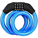 DANDAN Bicycle Lock Bike Lock 4 Digit Code Combination Bicycle Lock Bicycle Security Lock Bicycle Equipment MTB Anti-Theft Lock (Color : Blue)