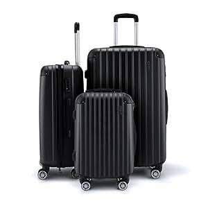 3Pc Luggage Suitcase set-Black With 3X Covers & TSA Lock