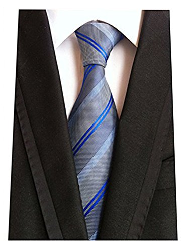 (MENDENG Fine Lines Gray Blue Jacquard Woven 100% Silk Men's Tie)