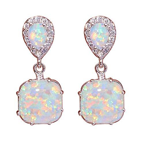 Fashion Earrings, gLoaSublim Fashion Women Fire Opal Inlaid Pendant Ear Stud Earrings Party Jewelry Accessory - White