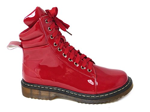 Punk 8 Size Vintage Womens Lace Ankle Ladies 196003 3 SKO'S Boots Red Zip High Patent UP Combat W4gnBWxq6f