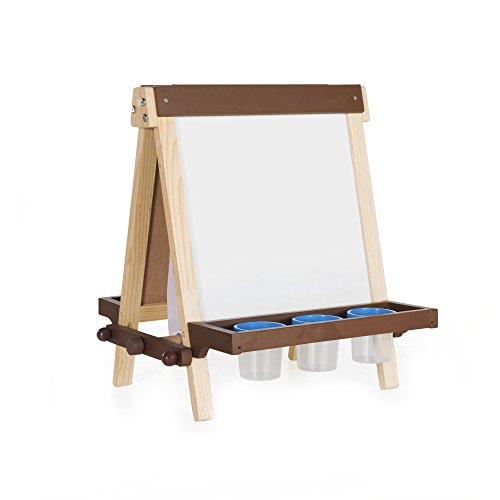 Guidecraft Wooden Tabletop Art Easel for Kids : Double Sided Dry-Erase Board, Chalkboard, with Paint Cups, Chalk Tray and Paper Roll