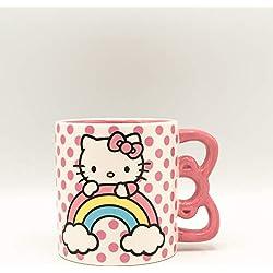 Silver Buffalo Taza de cerámica con asa en forma de rayo, Mango con forma de Hello Kitty, Rosado, 591,47ml, 1