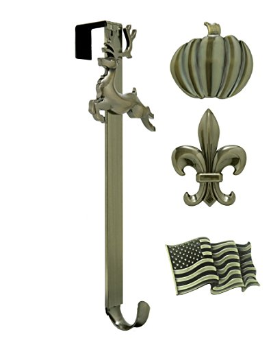 Brass Icon - Adjustable Length Wreath Hanger with Interchangeable Icons (Antique Brass-Flag/Reindeer/Pumpkin/Fleur de lis)