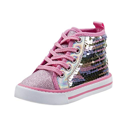 Laura Ashley Girls Side Zipper High Top with Glitter & Studs (Toddler) (9 M US Toddler, Pink Multi Seq)']()