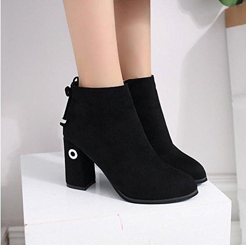 KHSKX-Tosco Y Fine-Point High-Heel Zapatos Y Botas Cortas De La Chica Sola Botas Botas Martin Inglaterra Fans Black