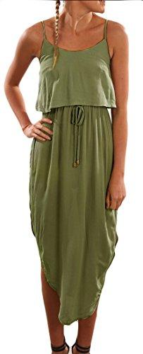 Solid Green Color Jaycargogo Midi Women Dress Party Strap Irregular Spaghetti wzwtgqI