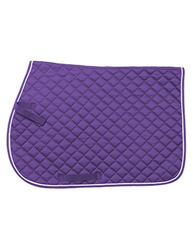 Tough 1 EquiRoyal Square Quilted Cotton Comfort English Saddle Pad, Purple (Purpose Quilted Pads Saddle)