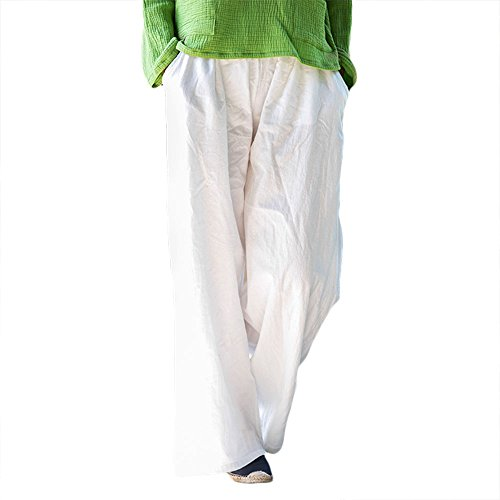 ZooBoo Palazzo Parachute Harem Pants - Yoga Balloon Loose Gypsy Aladdin Chinese Trousers For Women Men - Cotton and Hemp (White)